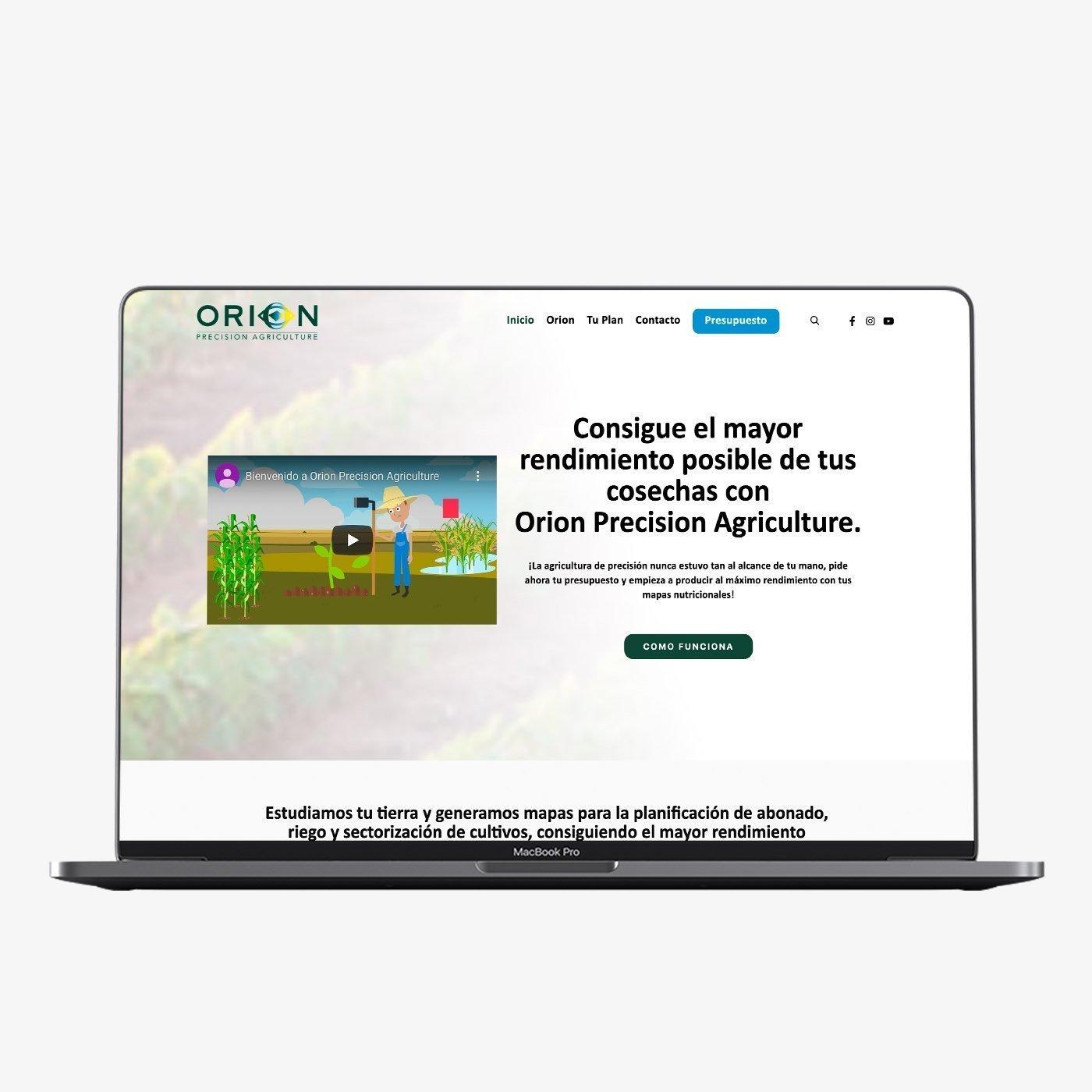 Diseño web de Orion Agriculture
